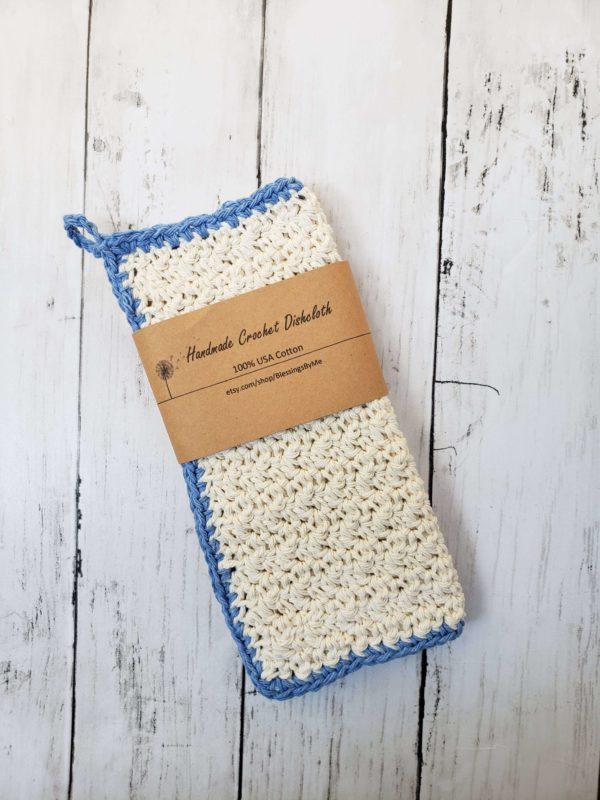farmhouse dishcloth cornflower blue and oatmeal