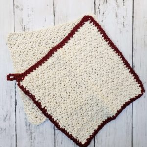 Farmhouse dishcloth in burgundy and cream set