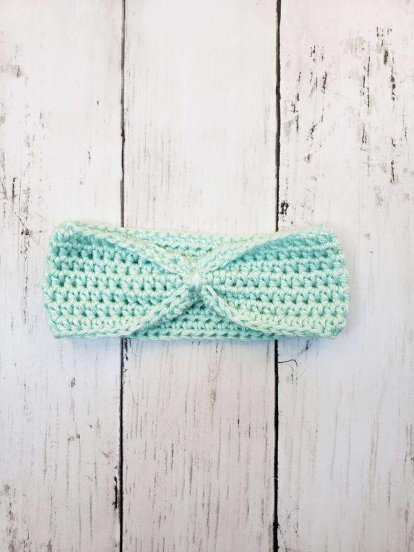 Baby headband ear warmer mint green