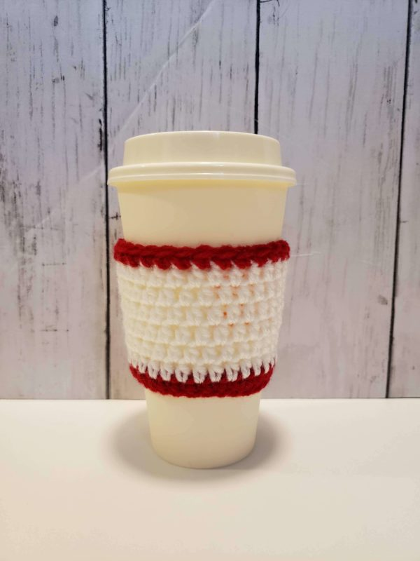 Coffee Cup Cozy - red and white