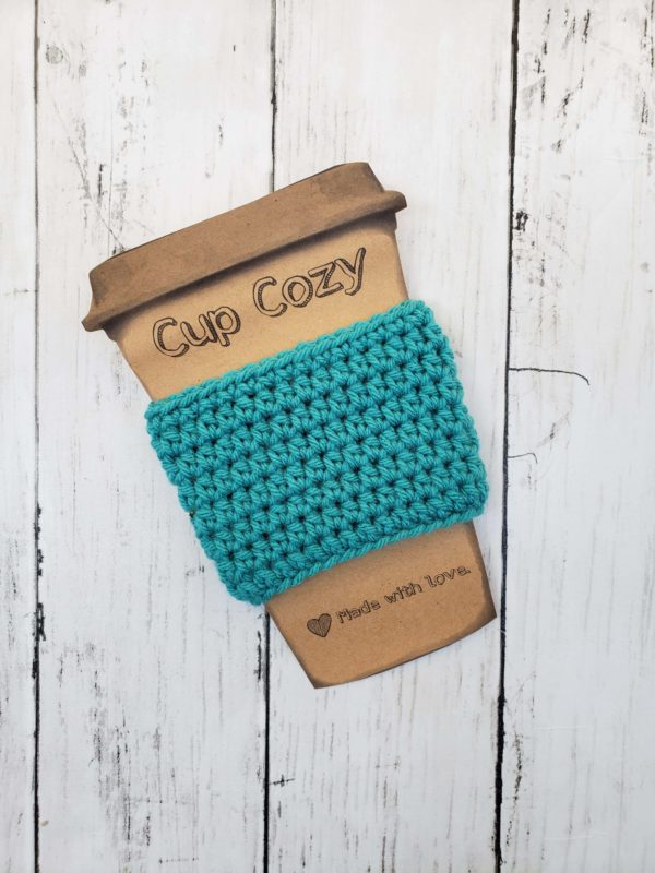Teal coffee cup cozy