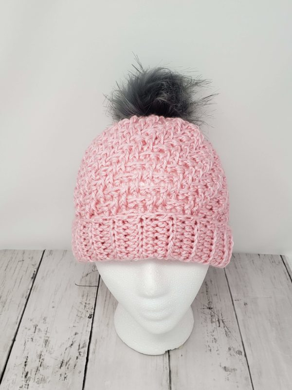 Raised Diagonal Slouch Hat with Pom Pom