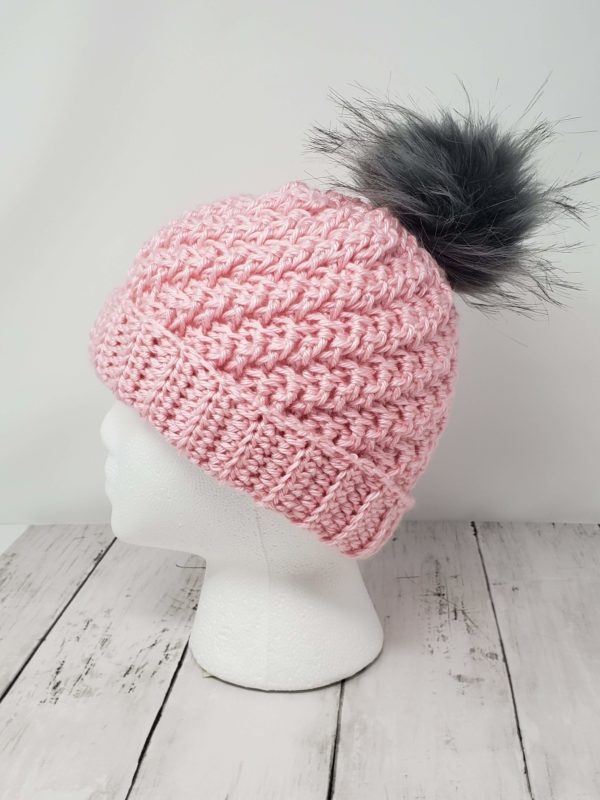 Raised Diagonal Slouch Hat with Pom Pom - Pink
