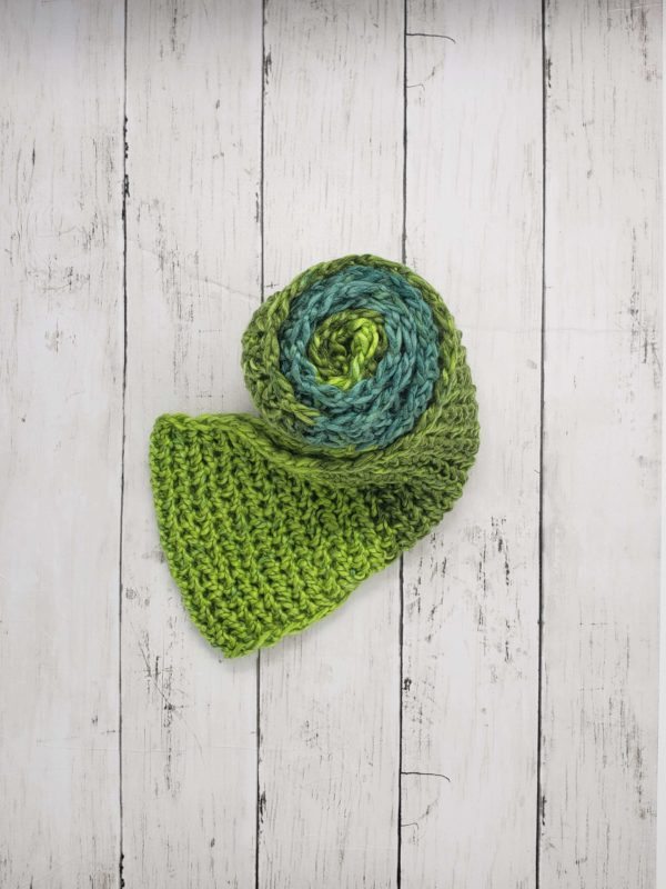 Green Infinity Scarf Wrapped Up