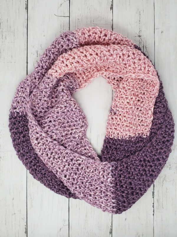 Purple plush infinity scarf