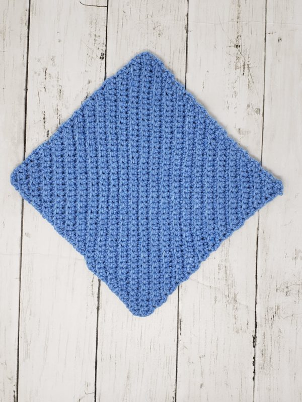 Diagonal stitch dishcloth - blue