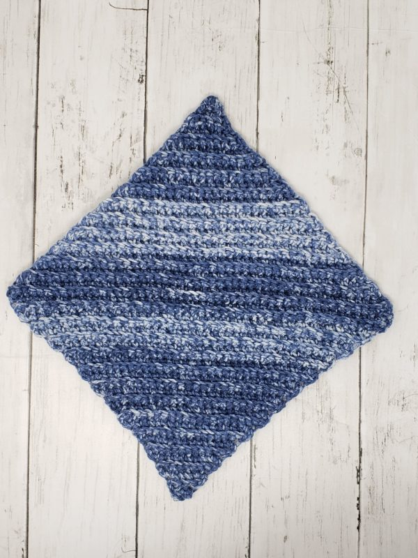 Diagonal stitch dishcloth - blue stripe