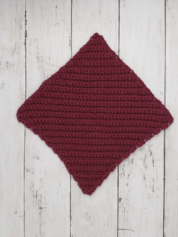 Diagonal stitch dishcloth - burgandy
