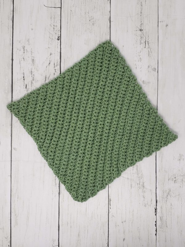 Diagonal stitch dishcloth - Green