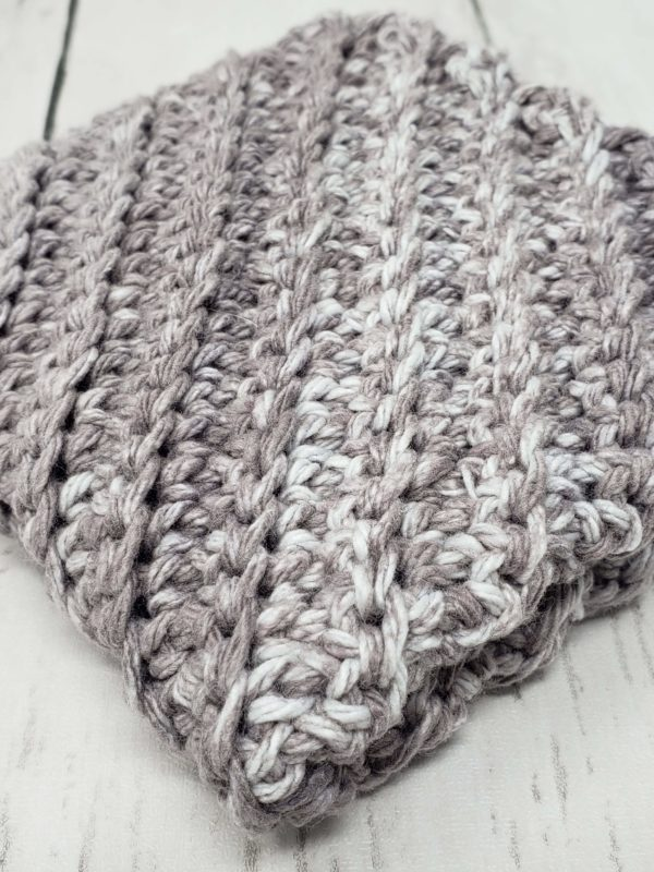 Diagonal stitch dishcloth - grey