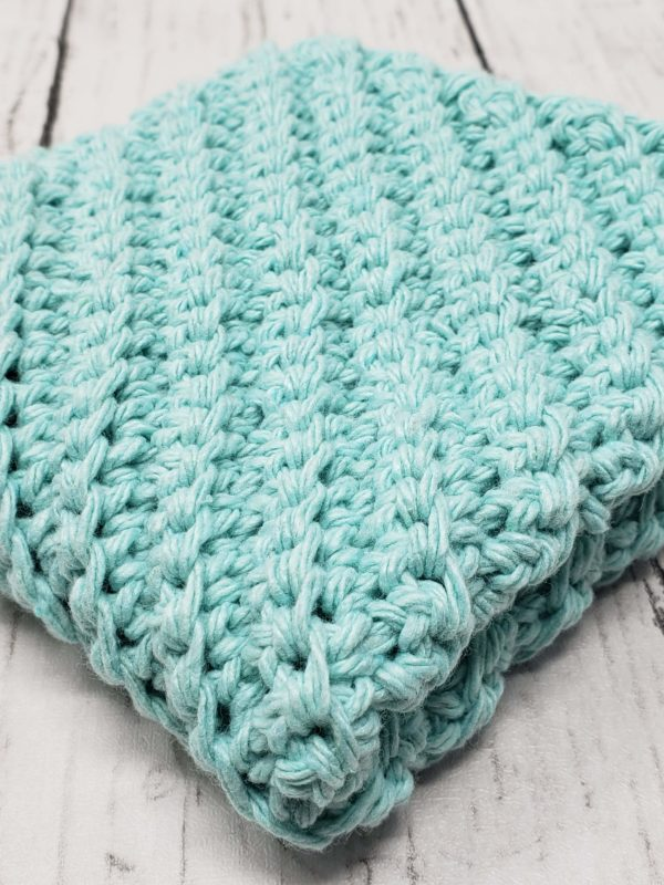 Diagonal stitch dishcloth - teal