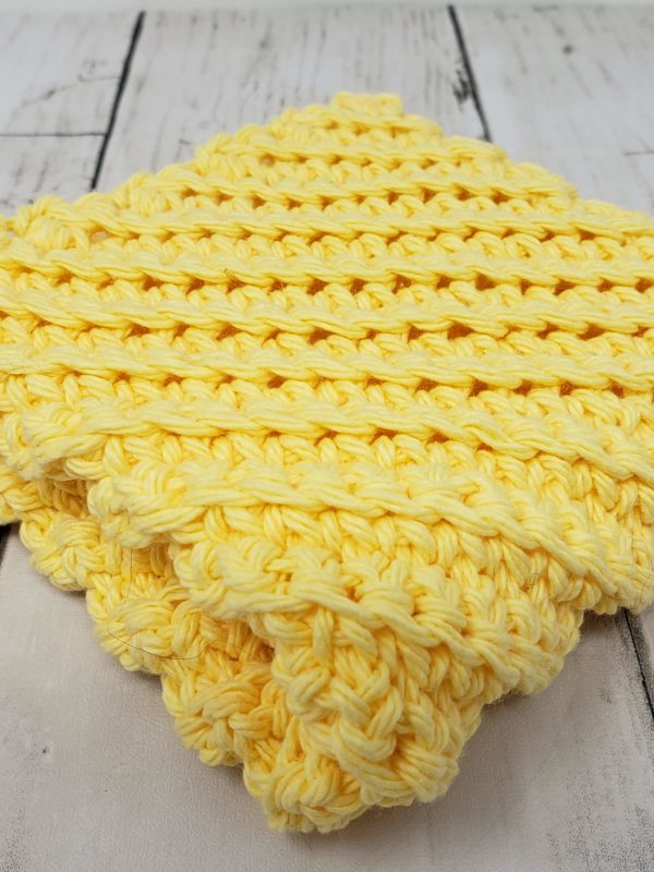 Diagonal stitch dishcloth - yellow
