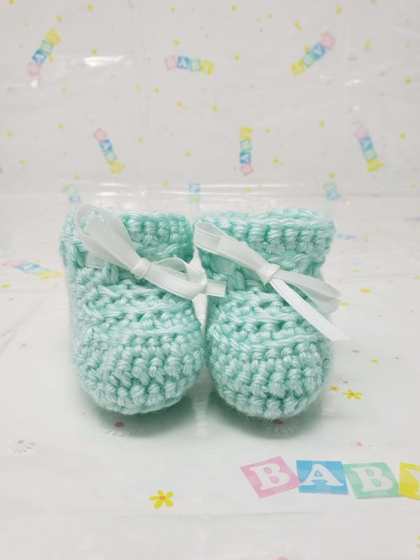 Green newborn booties
