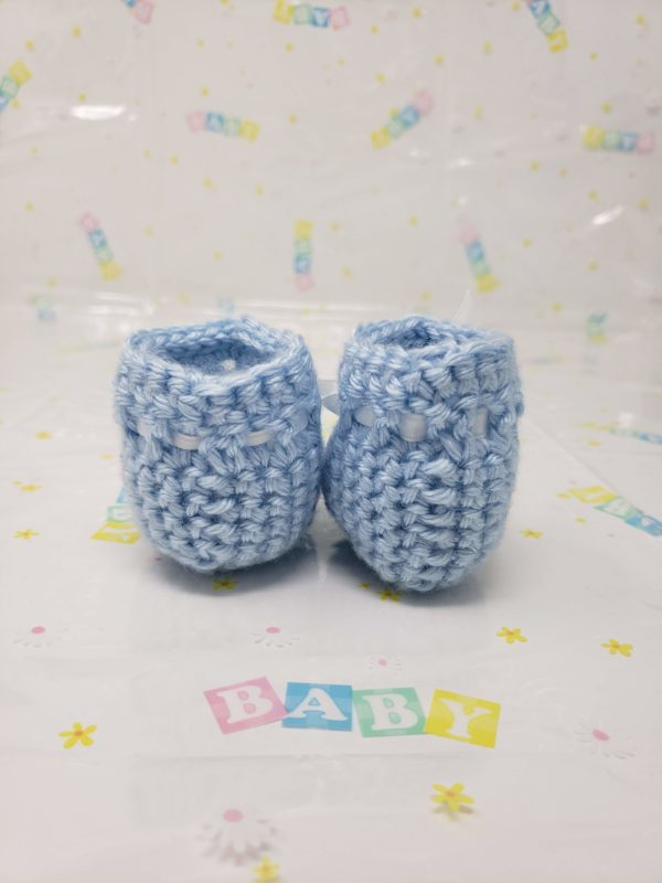 Blue newborn booties