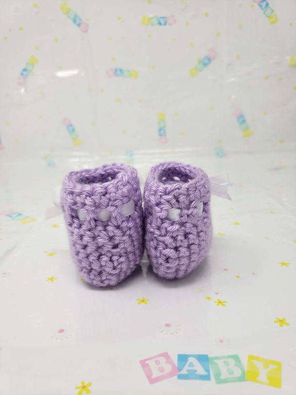 Purple newborn booties