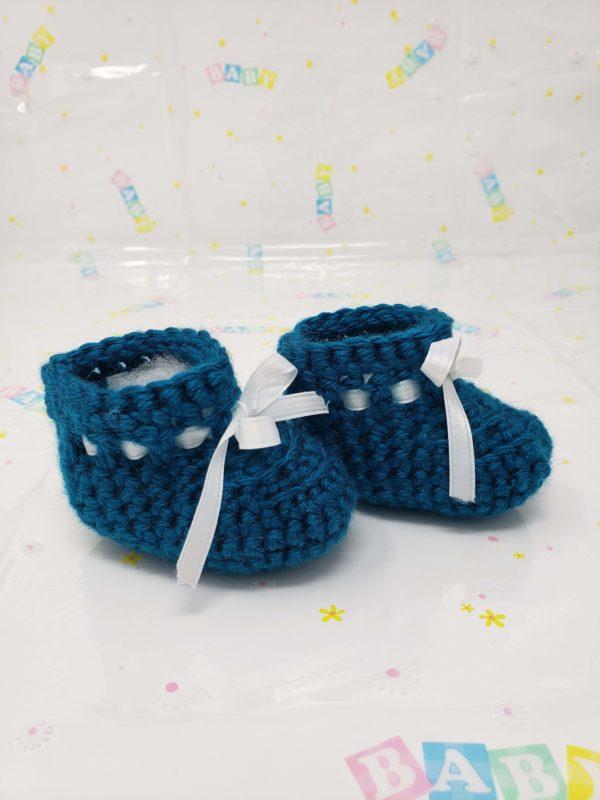 Teal newborn booties
